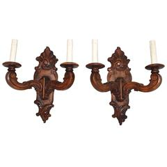 Beautiful Pair of French 1920 Louis XVI Style Wood Sconces