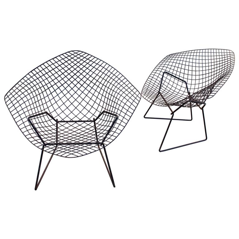 Pair Of Bertoia Diamond Chairs By Knoll With Original Shells For Sale