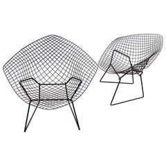 Pair of Bertoia Diamond Chairs by Knoll with Original Shells
