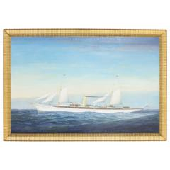 """Intriguing Nautical Painting of the Steam Yacht """"Atlanta"""""""