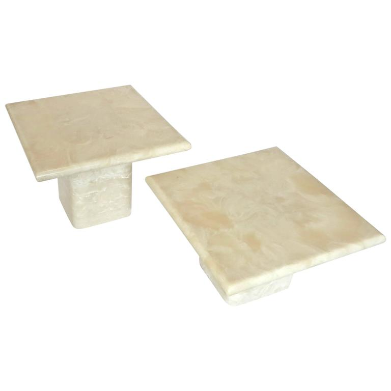 Pair of Cream Ivory Cultured Marble Low Side or Coffee Tables For Sale