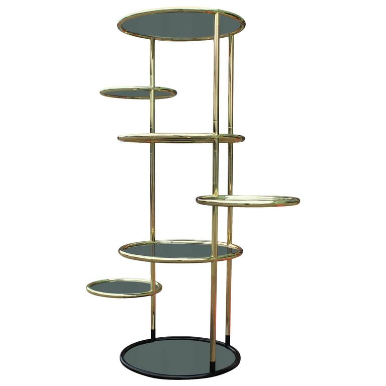 Brass and smoked glass swivel etagere at 1stdibs - Etagere 6 cases ...