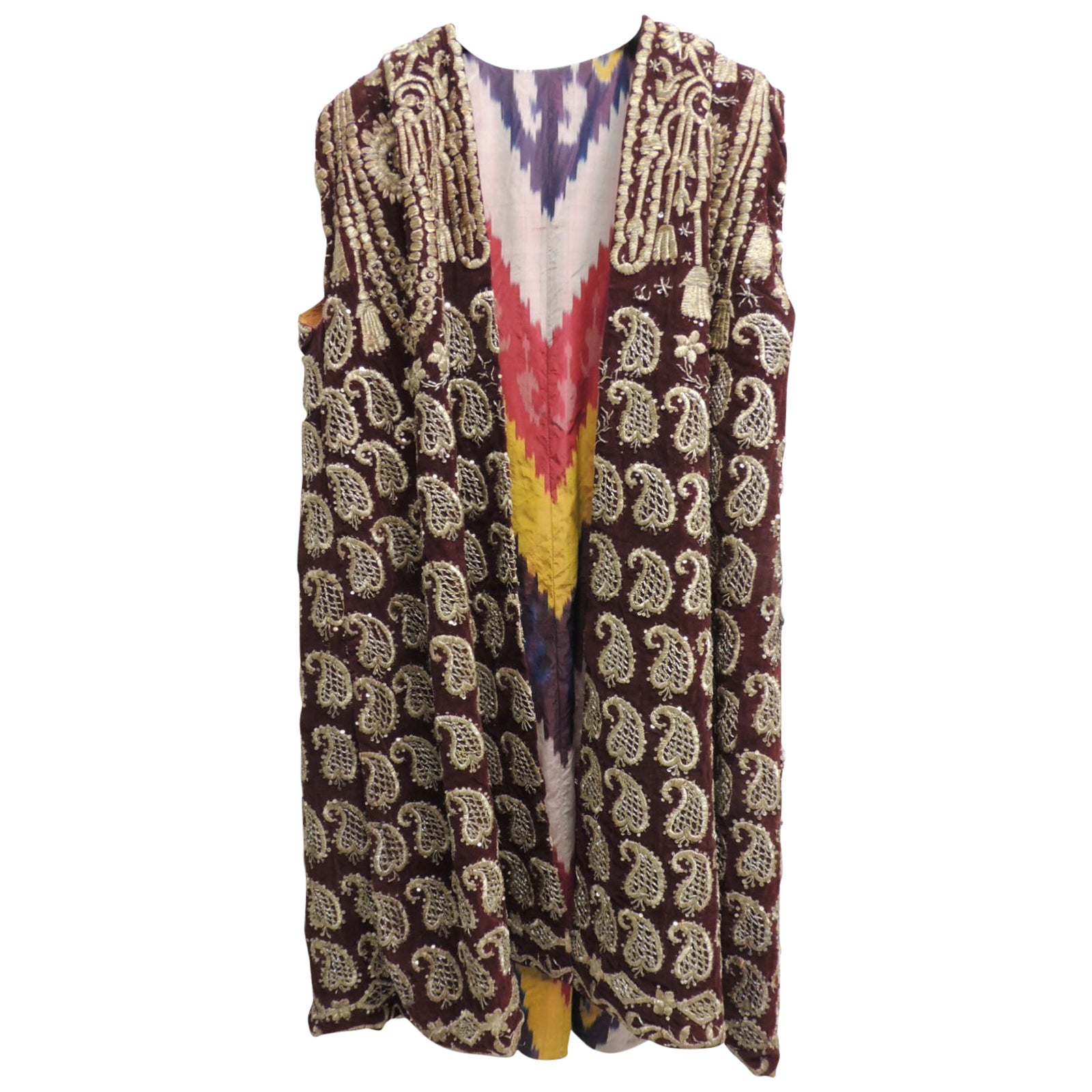 Red Velvet with Gold Metallic Hand Embroideries Ottoman Empire Vest/Coat