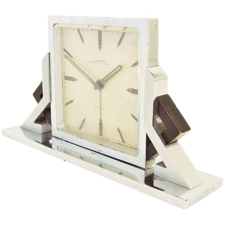 Swiss art deco chrome and black enamel geometric 8 day Art deco alarm clocks