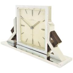 Swiss Art Deco Chrome and Black Enamel Geometric 8-Day Alarm Clock by Looping