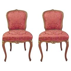 Pair of Hand-Carved Louis XV Style Side Chairs