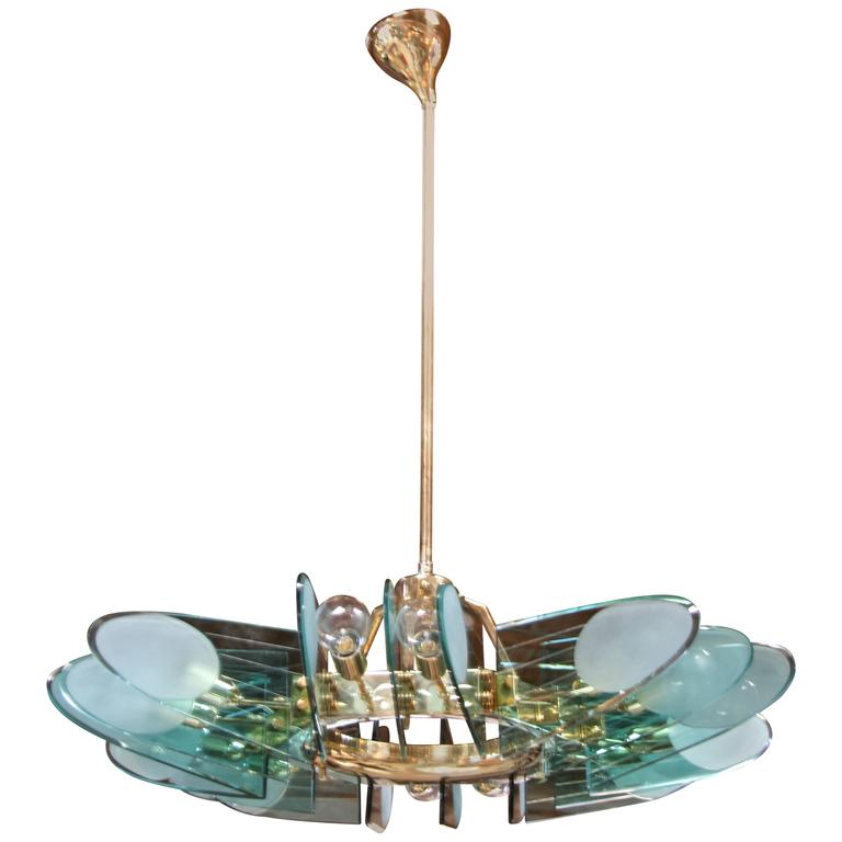 Italian Chandelier Attributed to Veca, Milano For Sale