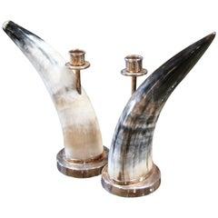 Italian 1970s Horn/Steel Candleholders