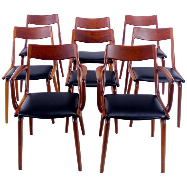 set of eight danish modern teak dining chairs designed by erik