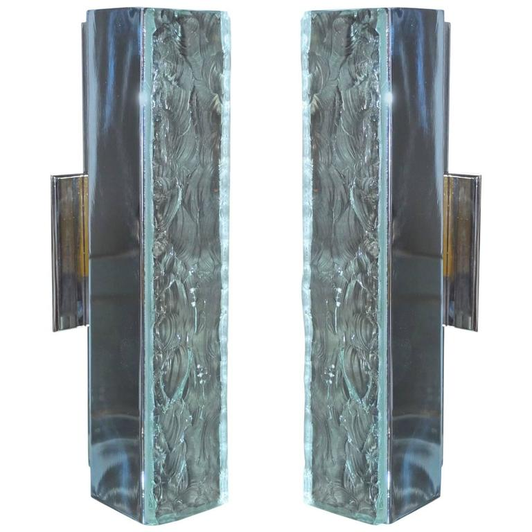 Pair of Max Ingrand for Fontana Arte Chiseled Glass & Nickel Wall Sconces