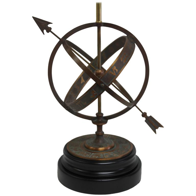 Bronze Astrological Armillary Table Lamp, Frederick Cooper Lamp Co. For Sale