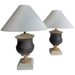 Pair of Large Vintage Metal and Marble Kreiss Lamps