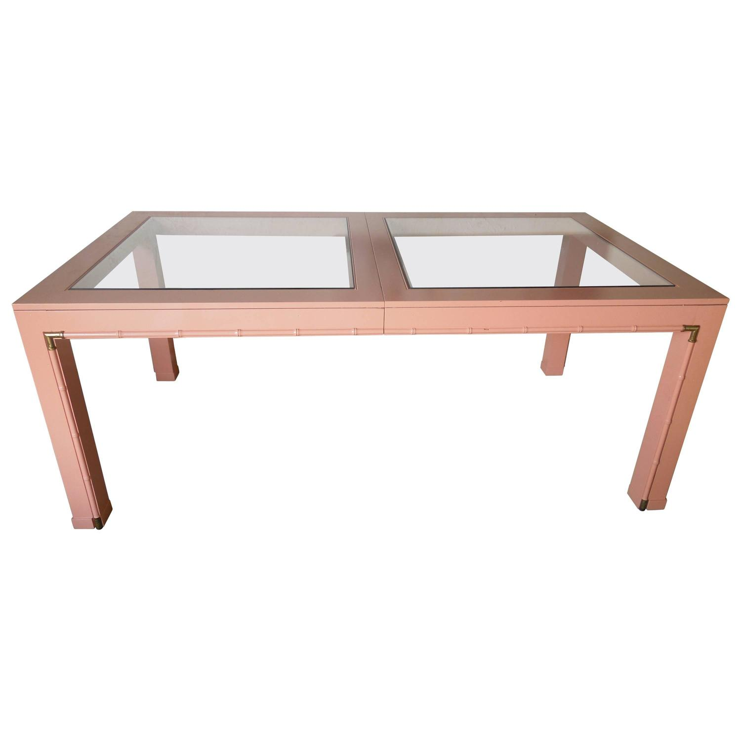 60s vintage modern coral high gloss wood brass and glass for Modern high dining table
