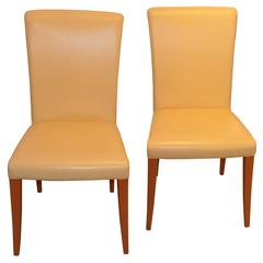 Poltrona Frau Vittoria Leather Chairs in Yellow 'Banana' Color