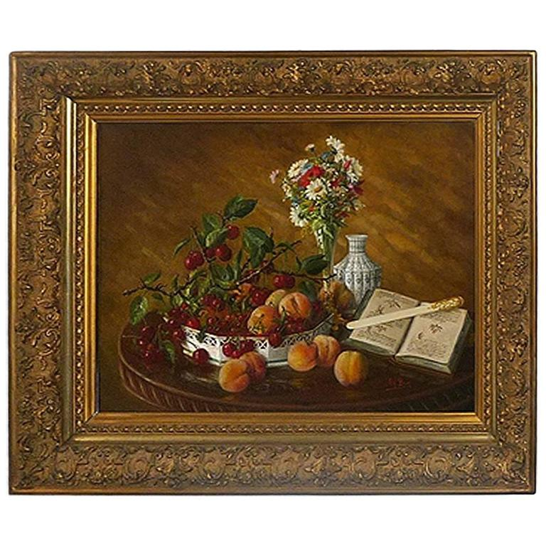 French Oil on Canvas Still Life Signed Brun, 19th Century