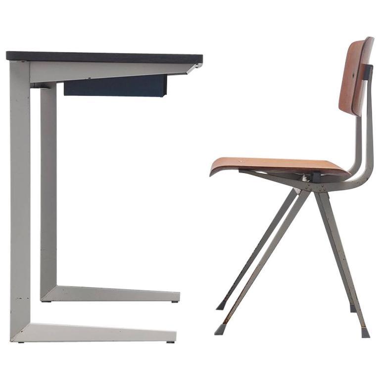 1964 Rare Friso Kramer Coffee Table For Ahrend De Cirkel: Friso Kramer Result Writing Table Set Ahrend, 1960 For