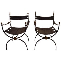Pair of Italian Savronarola Iron Brass and Leather Chairs