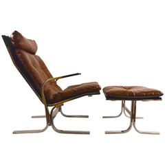 Chrome Lounge Chair and Ottoman