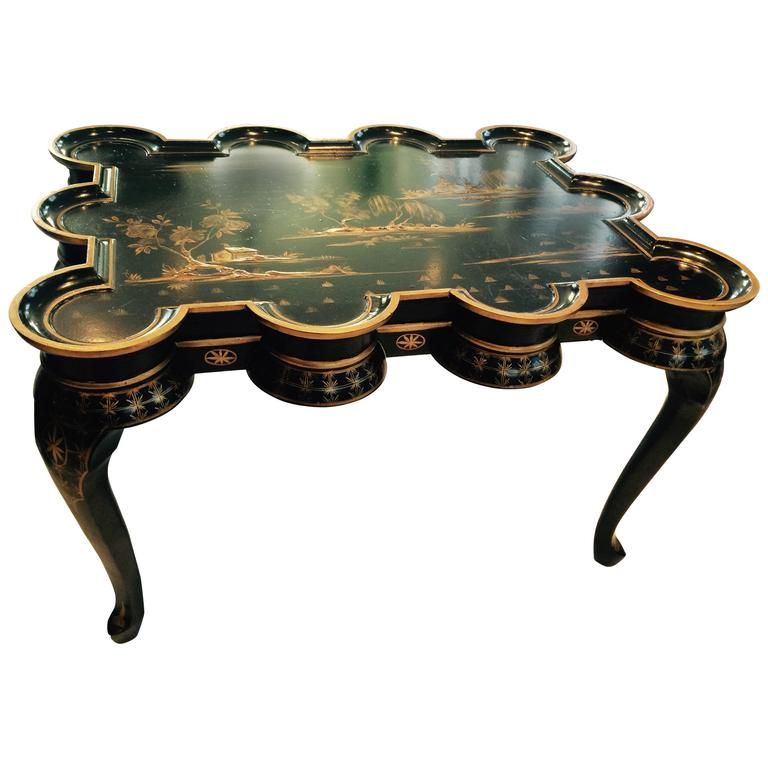Unusual Japanned Chinoiserie Black And Gold Coffee