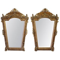 Rare French 19th Century Pair of Giltwood Cherub Mirrors