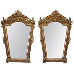 Rare French 19th Century Pair of Giltwood Cherub Mirrors