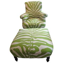 Vintage Club Chair and Ottoman in Scalamandre Faux Zebra
