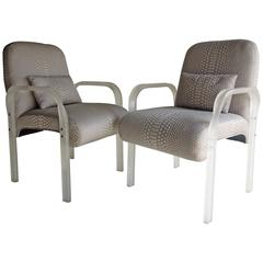 Pair of 70s Glam Vintage Modern Frosted Lucite Armchairs