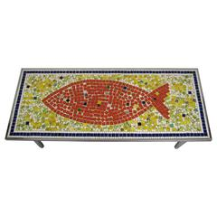 1960s Midcentury Mosaic Fish Tile Top Table