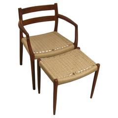 Danish Modern Teak J.L. Mollers Mobelfabrik Chair and Ottoman