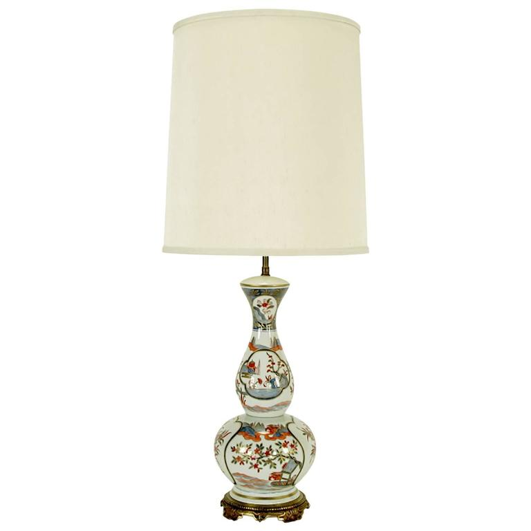 Hand Painted French Porcelain Chinoiserie Table Lamp