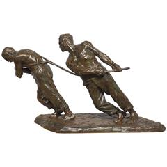 'The Rope Pullers' Original Bronze Sculpture by Victor Demanet