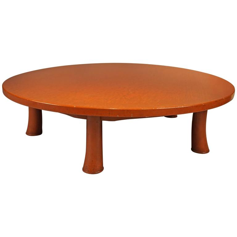 Unusual Five Leg Red Lacquered Coffee Table in the Style of Jean Michel Frank