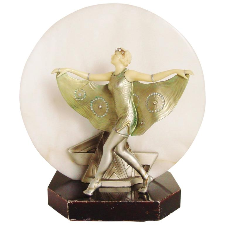 French Art Deco Gerdago Cold Painted Figural Accent Lamp with Alabaster Shade For Sale
