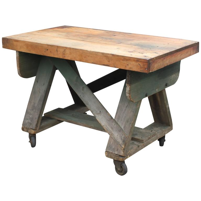 rustic trussed work table on wheels for sale at 1stdibs. Black Bedroom Furniture Sets. Home Design Ideas