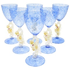 Set of Eight Salviati Hand Blown Blue Venetian Murano Goblets with Dragons