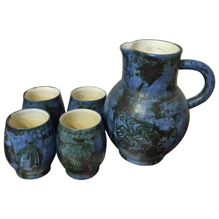 Jacques Blin Ceramic Pitcher and Four Glasses in Perfect Conditions
