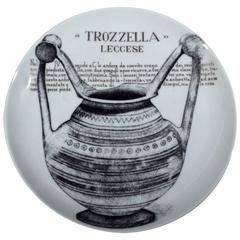 Piero Fornasetti Martini & Rossi Plate and Original Large Box, Number 11 Trozz