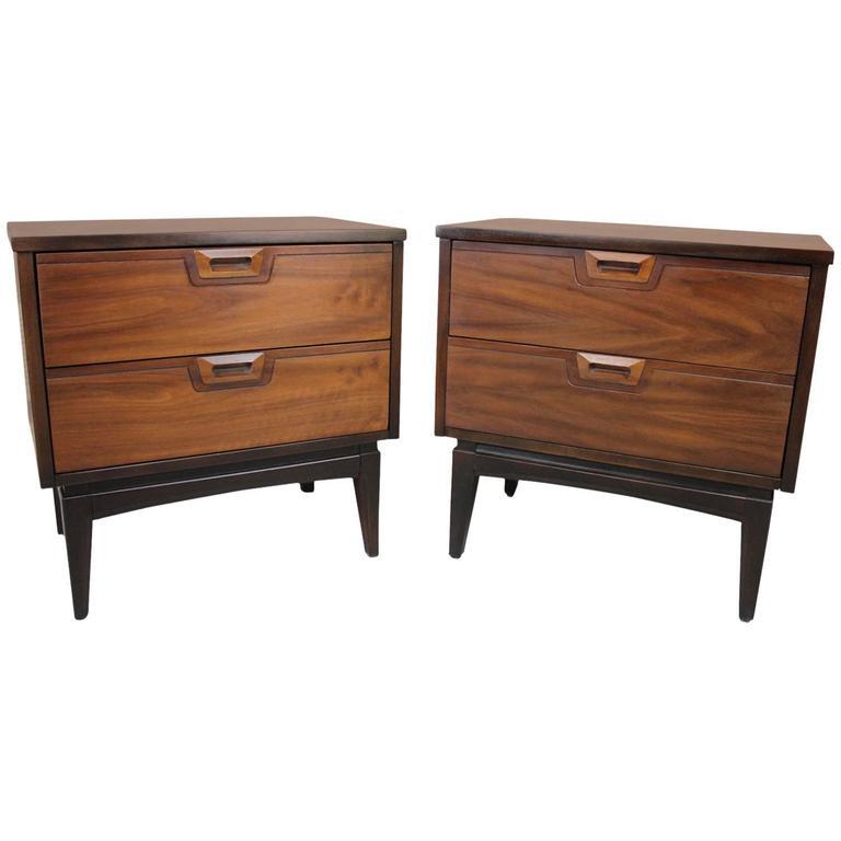 American walnut mid century modern nightstands pair at for American walnut bedroom furniture