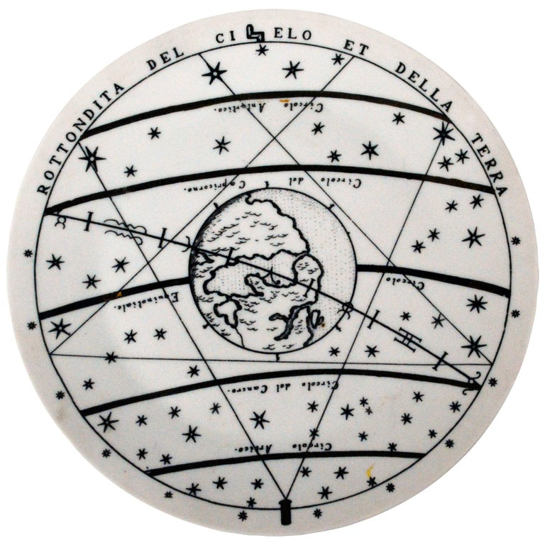 Piero Fornasetti porcelain plate with number 8 in the Astronomici series.  Astronomici means Astronomics. This is a rare pattern in black and white with gold highlights.   Mark: A moon and sun within a circle with smiling faces with scattered stars