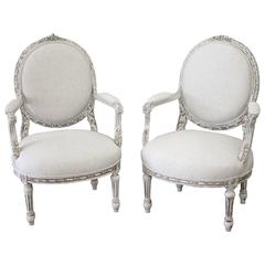 Pair of Painted French Louis XVI Style Fauteuils