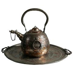 Monumental Antique Mid-Eastern Hammered and Engraved Kettle and Tray