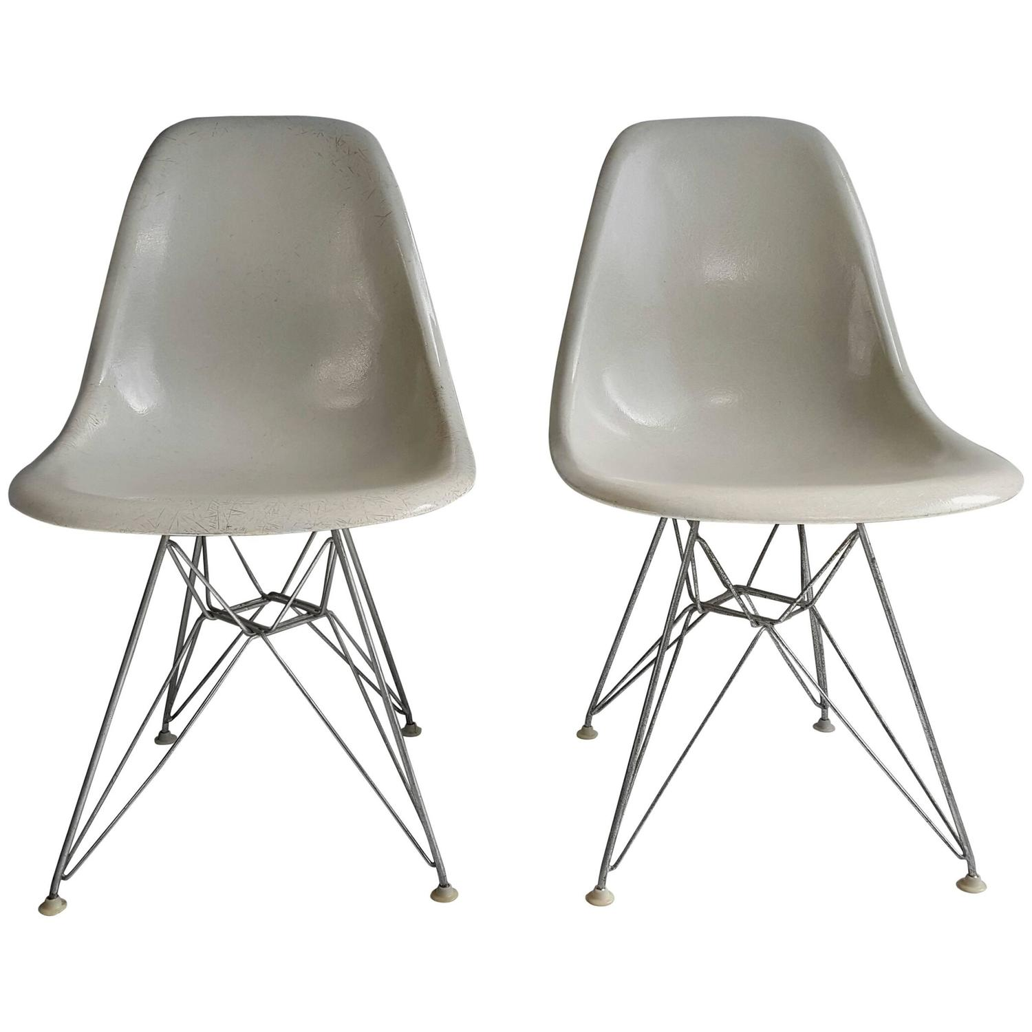 eames shell chairs on original eiffel bases 1950s at 1stdibs