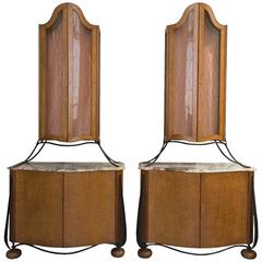 Pair of Modern Baroque Cabinets with marble top and wrought iron details