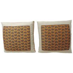 CLOSE OUT SALE: Pair of 19th Century Orange  Paisley Linen Decorative Pillows