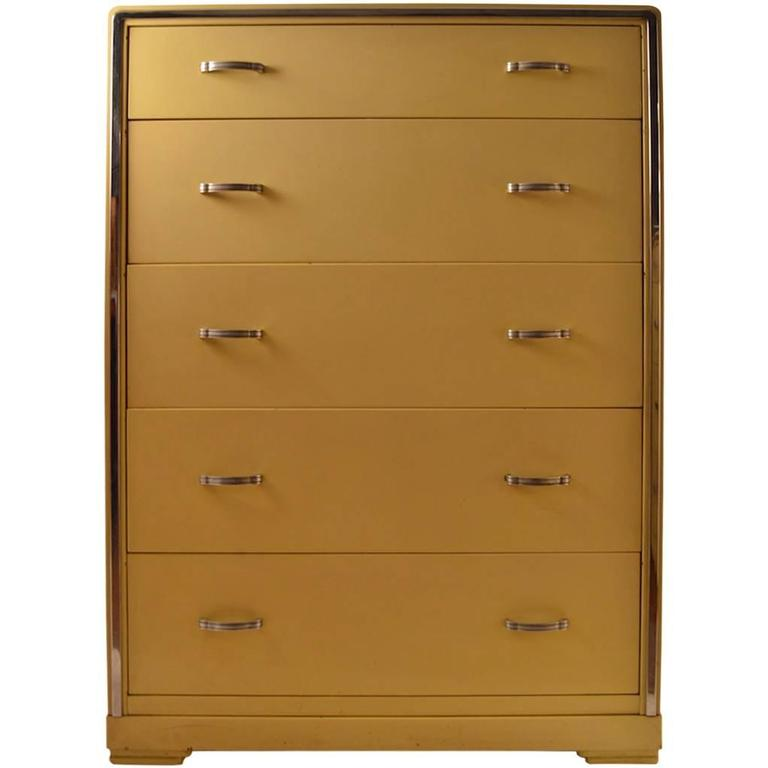 Five-Drawer High Boy Chest Designed by Norman Bel Geddes for Simmons Furniture