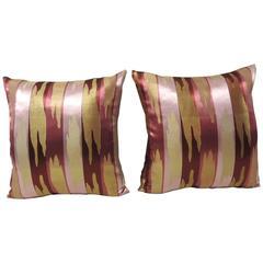 HOLIDAY SALE: Pair of Asian Decorative Silk Woven Japanese Obi Pillows