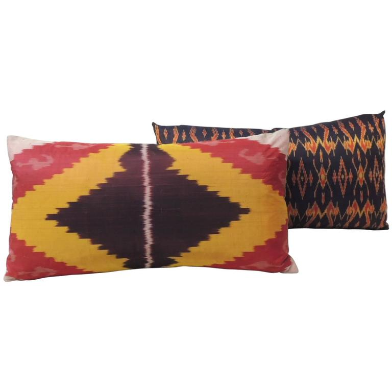Antique Silk Ikat Decorative Bolster Pillow For Sale at 1stdibs
