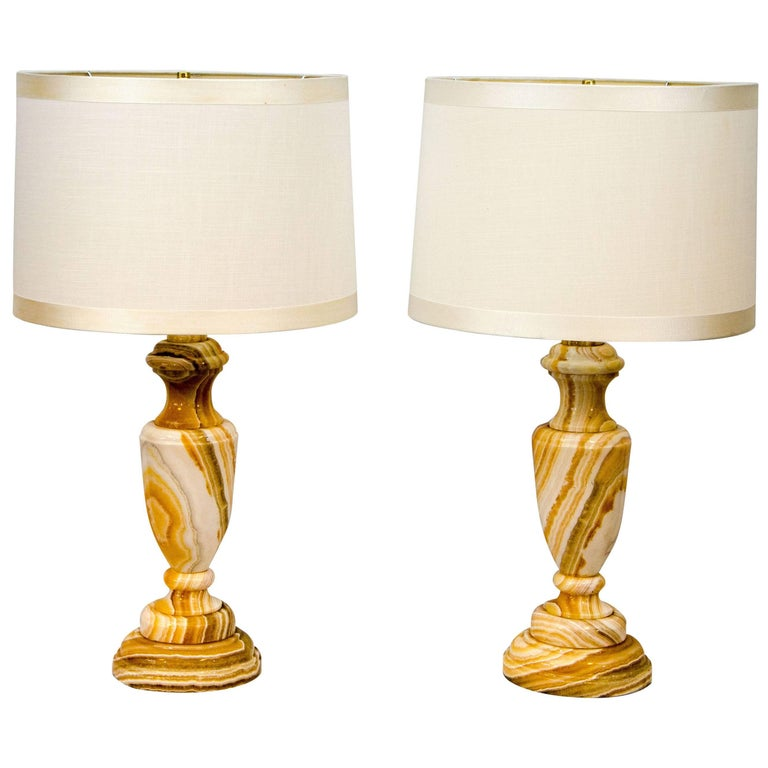 Pair of Mid-Century Onyx Table Lamps For Sale