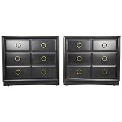 Pair of Chests by T.H. Robsjohn-Gibbings in a Custom Charcoal Finish, 1950s