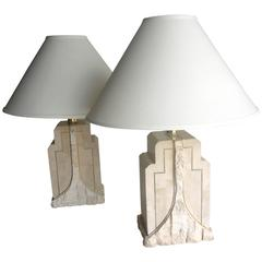 Pair of Vintage Maitland-Smith Tessellated Stone Lamps